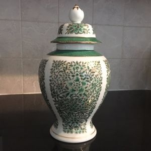 Asian Style Ginger Jar, Urn, Ceramic Gold & Green